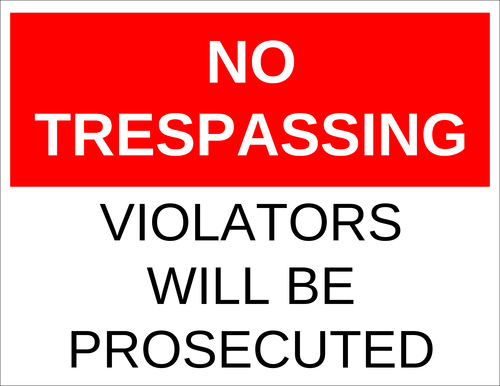 "OL175 - 8.5"" x 11"" - No Trespassing - Violators Will be Prosecuted"
