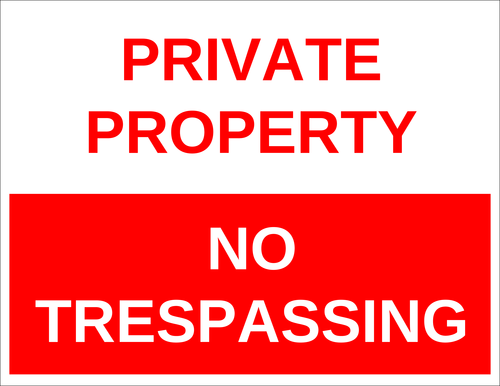 "OL175 - 8.5"" x 11"" - Private Property - No Trespassing Label"