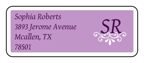 "OL875 - 2.625"" x 1"" - Purple Ornament Address Label"