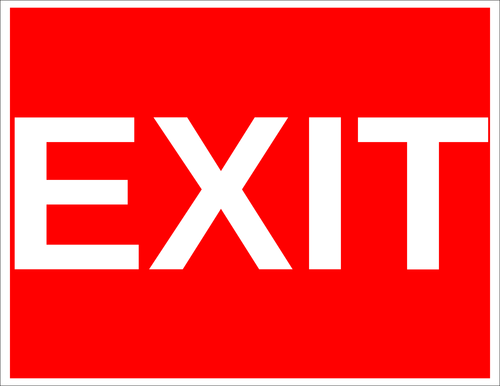 "OL175 - 8.5"" x 11"" - Exit Red Background Label"
