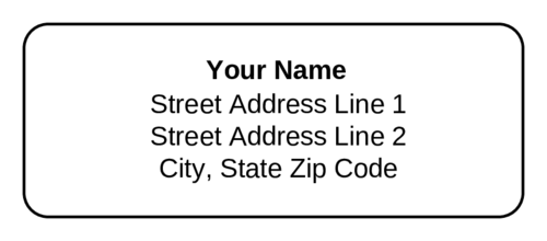 Standard Address Label - Text Only (Round Corner Rectangle)