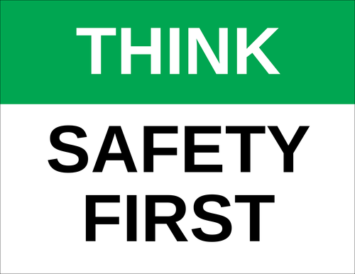 "OL175 - 8.5"" x 11"" - Think - Safety First Label"