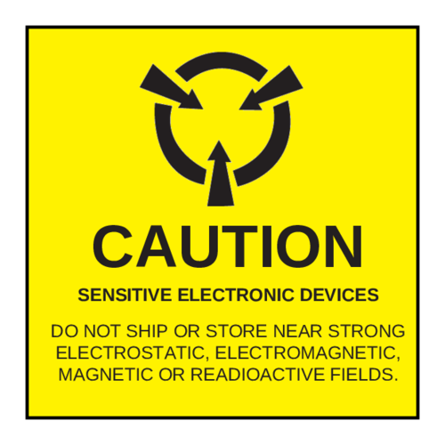 "OL5175 - 1.8"" x 1.8"" Square - Caution - Sensitive Electronic Devices Label"