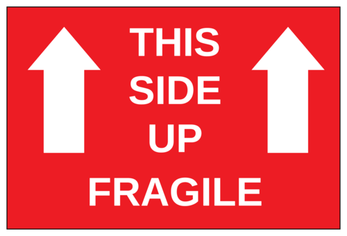 This Side Up - Fragile Label (Square Corner Rectangle)