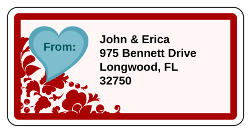"OL125 - 4"" x 2"" - Valentine's Day Floral Pattern Shipping Label"