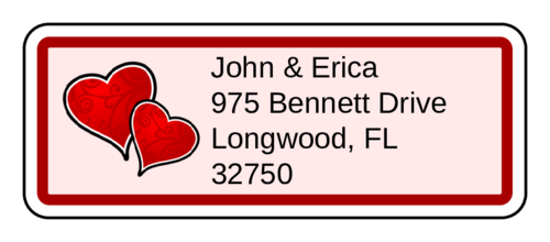 "OL875 - 2.625"" x 1"" - Valentine's Day Heart Swirls Address Label"
