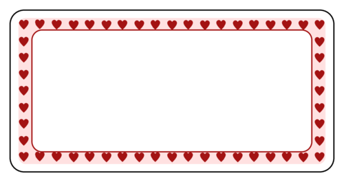 "OL125 - 4"" x 2"" - Valentine's Day Hearts Border Label"