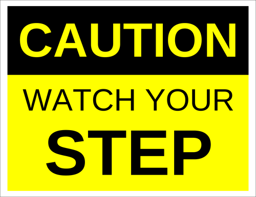 Caution - Watch Your Step Label pre-designed label template for OL175