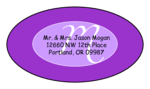 "OL9830 - 2.5"" x 1.375"" Oval - Cosmo - Purple Oval Wedding Envelope Label"