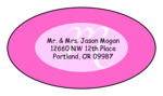 "OL9830 - 2.5"" x 1.375"" Oval - Cosmo - Pink Oval Wedding Envelope Label"
