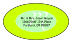 "OL9830 - 2.5"" x 1.375"" Oval - Cosmo - Kiwi Green Oval Wedding Envelope Label"