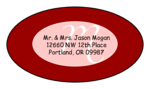 "OL9830 - 2.5"" x 1.375"" Oval - Cosmo - Red Oval Wedding Envelope Label"