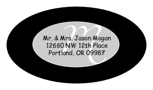 "OL9830 - 2.5"" x 1.375"" Oval - Cosmo - Black Oval Wedding Envelope Label"