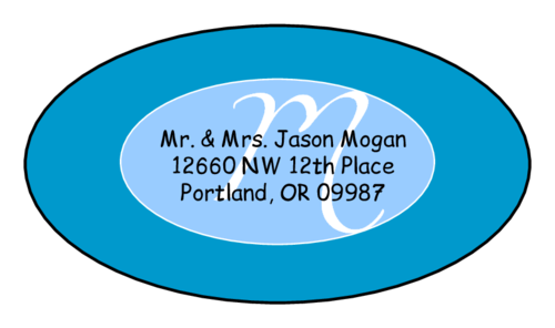 "OL9830 - 2.5"" x 1.375"" Oval - Cosmo - Turquoise Oval Wedding Envelope Label"