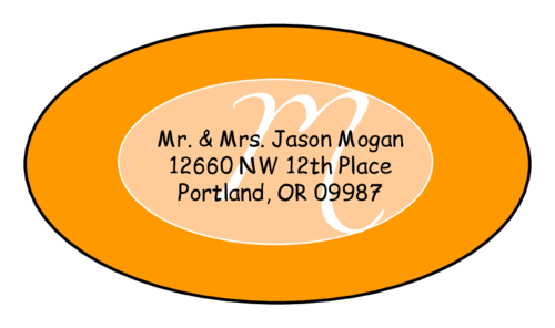 "OL9830 - 2.5"" x 1.375"" Oval - Cosmo - Orange Oval Wedding Envelope Label"