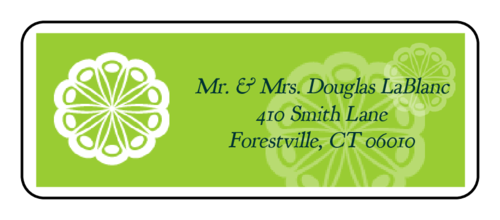 "OL875 - 2.625"" x 1"" - Marquetry - Key Lime Green Wedding Address Label"