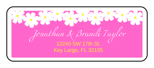 "OL875 - 2.625"" x 1"" - Spring Flowers - Pink Wedding Address Label"