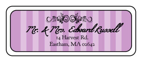 "OL875 - 2.625"" x 1"" - Madison Avenue - Purple Wedding Address Label"
