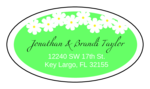 "OL9830 - 2.5"" x 1.375"" Oval - Spring Flowers - Green Oval Wedding Address Label"
