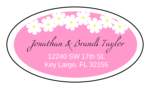 "OL9830 - 2.5"" x 1.375"" Oval - Spring Flowers - Pink Oval Wedding Address Label"