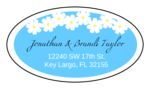 "OL9830 - 2.5"" x 1.375"" Oval - Spring Flowers - Light Blue Oval Wedding Address Label"