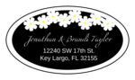 "OL9830 - 2.5"" x 1.375"" Oval - Spring Flowers - Black Oval Wedding Address Label"