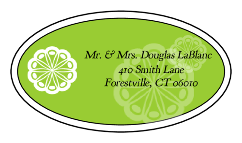 "OL9830 - 2.5"" x 1.375"" Oval - Marquetry - Key Lime Green Oval Wedding Address Label"