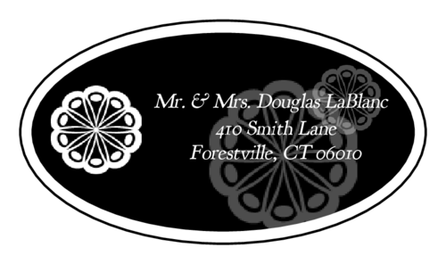 "OL9830 - 2.5"" x 1.375"" Oval - Marquetry - Black Oval Wedding Address Label"
