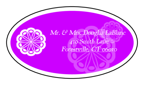 "OL9830 - 2.5"" x 1.375"" Oval - Marquetry - Purple Oval Wedding Address Label"