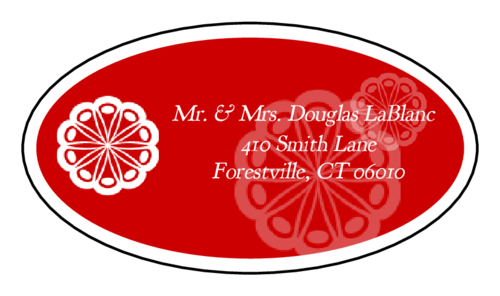 "OL9830 - 2.5"" x 1.375"" Oval - Marquetry - Red Oval Wedding Address Label"