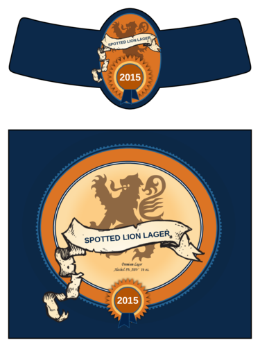 Spotted Lion Lager Beer Bottle Label pre-designed label template for OL3078