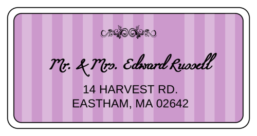 "OL125 - 4"" x 2"" - OL125 - Madison Avenue - Purple Wedding Shipping Label"
