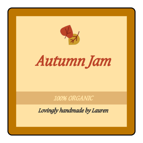 "OL330 - 2"" x 2"" Square - Autumn - Thanksgiving Jam Jar Label"