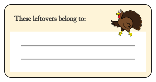 Thanksgiving Leftover Container Label pre-designed label template for OL125