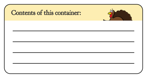 Thanksgiving Leftover Contents Label pre-designed label template for OL125