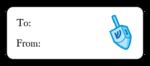 "OL875 - 2.625"" x 1"" - Hanukkah - Dreidel Gift Label"