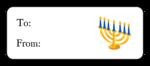 "OL875 - 2.625"" x 1"" - Hanukkah - Menorah Gift Label"
