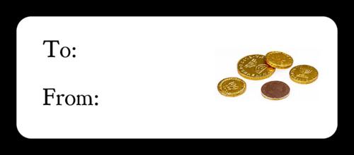 "OL875 - 2.625"" x 1"" - Hanukkah - Gelt Gift Label"