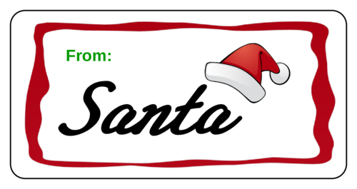 "OL125 - 4"" x 2"" - Santa - Gift Presents Label"