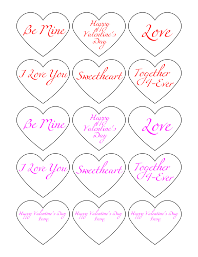 "OL196 - 2.2754"" x 1.8872"" - Valentine's Day Heart Label Expressions"
