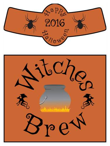"OL3078 - 3.4999"" x 2.9999"" Beer - Witches Brew Beer Bottle Labels for Halloween"