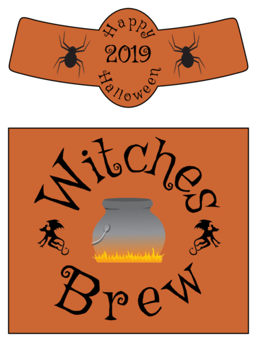Witches Brew Beer Bottle Labels for Halloween pre-designed label template for OL3078
