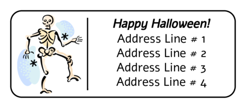 Halloween Skeleton pre-designed label template for OL875