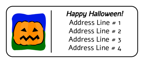 "OL875 - 2.625"" x 1"" - Halloween Jack O' Lantern - Address Label"