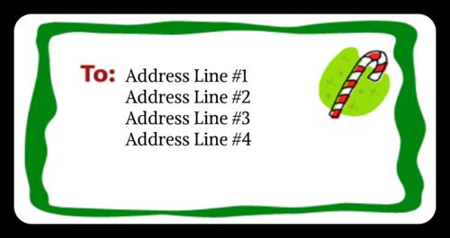 "OL125 - 4"" x 2"" - Christmas - Candy Cane"