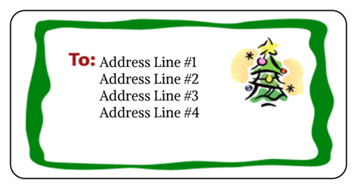 Christmas Tree pre-designed label template for OL125