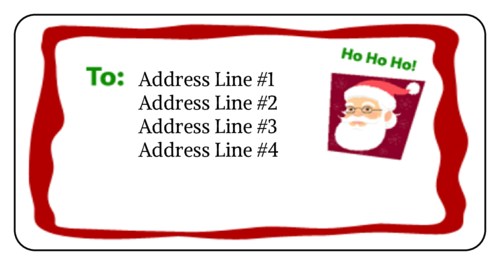 Santa Address Label pre-designed label template for OL125