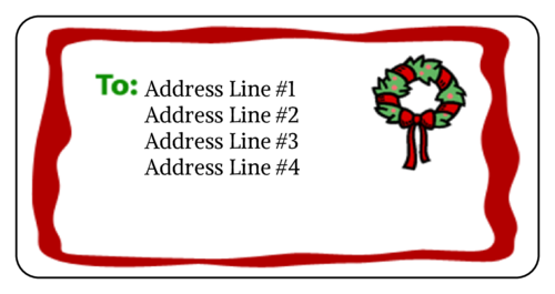 "OL125 - 4"" x 2"" - Wreath Address Label"