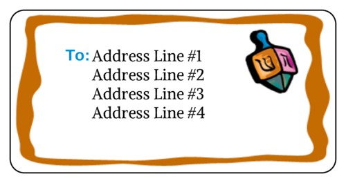 "OL125 - 4"" x 2"" - Dreidel Address Label"