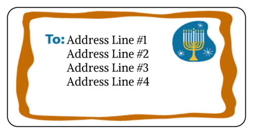 "OL125 - 4"" x 2"" - Menorah Address label"
